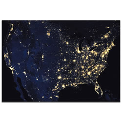 USA at Night - Modern Wall Decor
