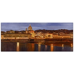 Traditional Wall Art Midnight in Florence - Italian City Decor on Metal or Plexiglass