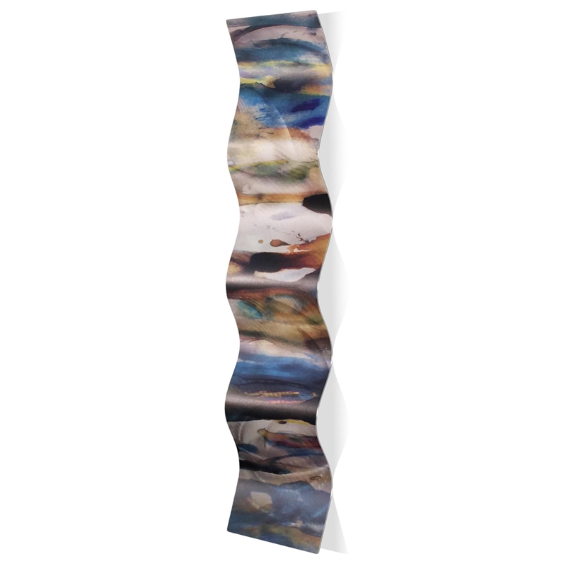 Watercolor Wave 9.5x44in. Metal Eclectic Decor