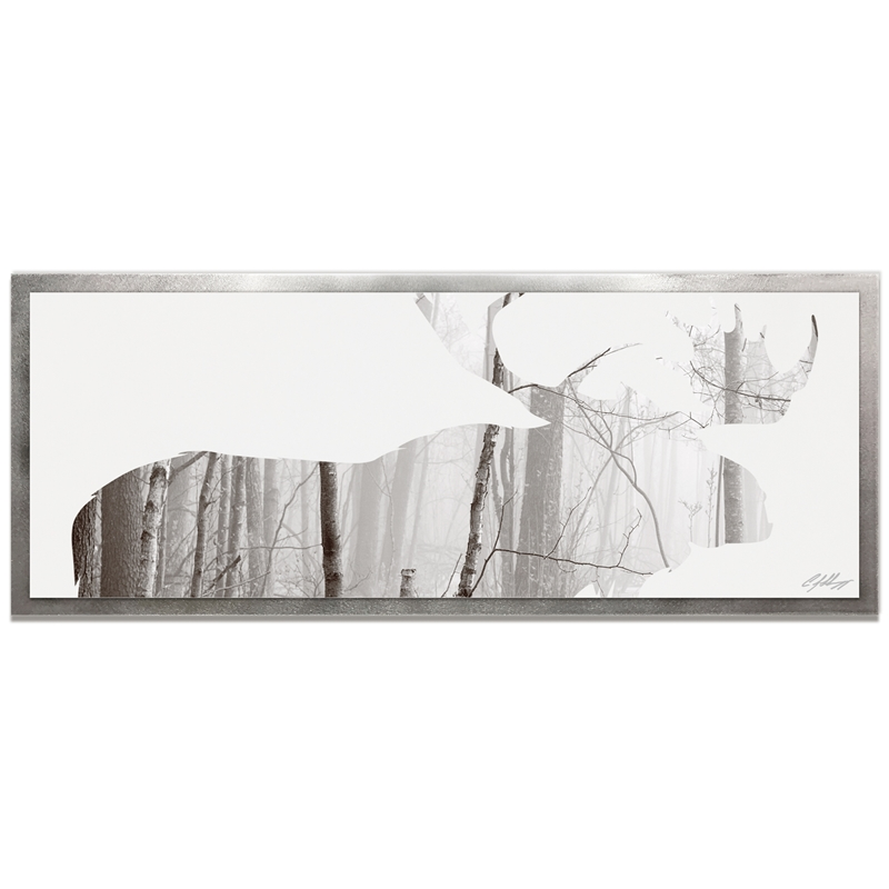 Adam Schwoeppe 'Moose Landscape Framed' 48in x 19in Contemporary Animal Silhouette Art on Colored Metal
