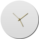 Adam Schwoeppe 'Whiteout Gold Circle Clock' Midcentury Modern Style Wall Clock