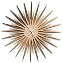 Adam Schwoeppe 'Atomic Era Clock Bronze Maple White' Midcentury Modern Style Wall Clock