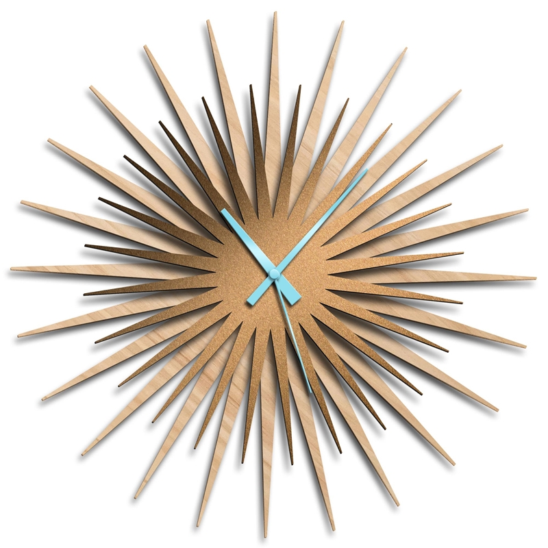 Adam Schwoeppe 'Atomic Era Clock Maple Bronze Blue' Midcentury Modern Style Wall Clock