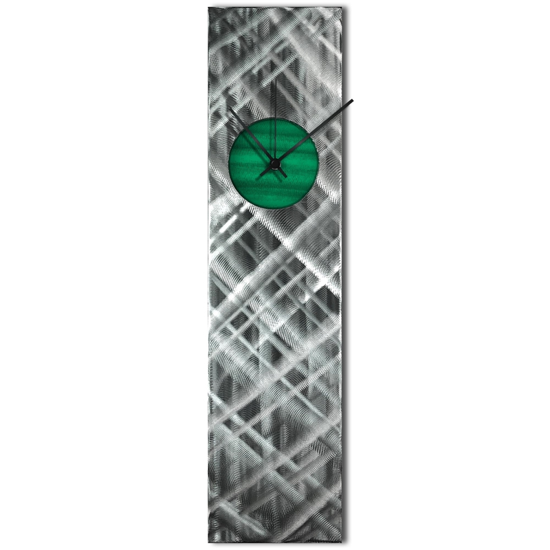 Helena Martin 'Plaid Relief Clock Green' 6in x 24in Modern Wall Clock on Ground and Painted Metal