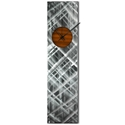 Helena Martin 'Plaid Relief Clock Root Beer' 6in x 24in Modern Wall Clock on Ground and Painted Metal