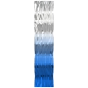 Helena Martin 'Blue Fade Wave' 9.5in x 44in Original Abstract Metal Art on Ground and Painted Metal