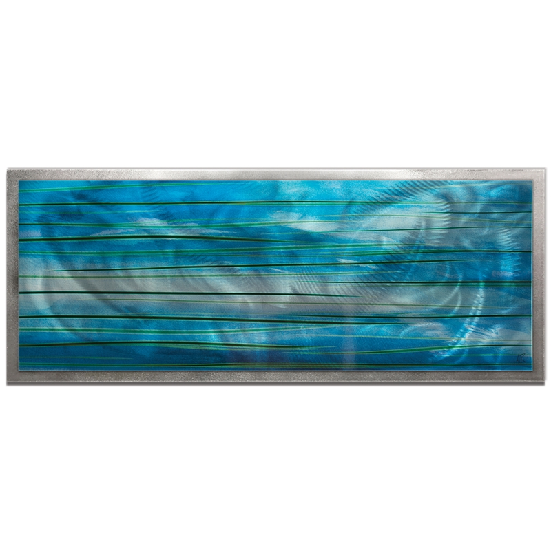 NAY 'Ocean View Framed' 48in x 19in Abstract Blue Painting Art on Colored Metal