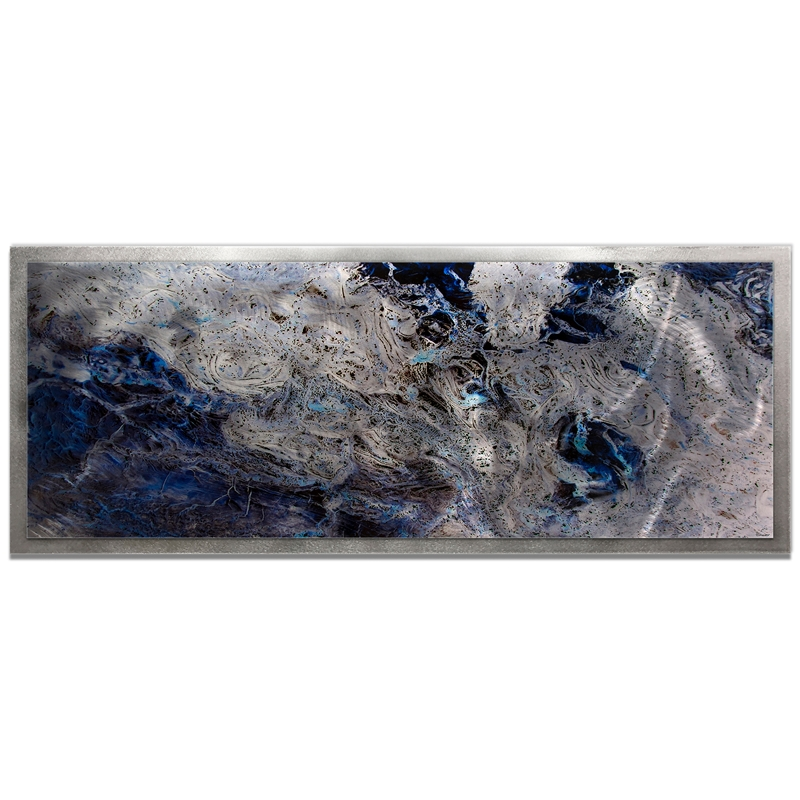 Emley 'Storm Color Framed' 48in x 19in Abstract Abstract Blue Art Art on Colored Metal