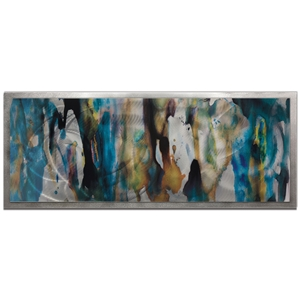Amber LaRosa 'Watercolor Composition Framed' 48in x 19in Abstract Abstract Art Art on Colored Metal