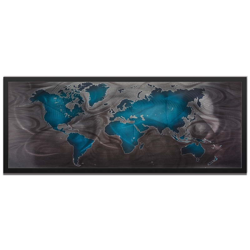 Amber LaRosa 'Blue Pewter Land and Sea Framed' 48in x 19in Traditional World Map Art on Colored Metal