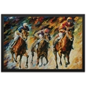 Leonid Afremov 'Instant of Success Framed' 32in x 22in Contemporary Horse Racing Art on Colored Metal