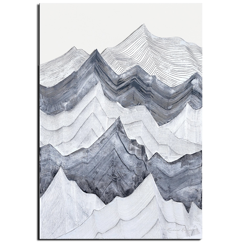Richard Knight 'Switchback Mountains' 22in x 32in Abstract Landscape Art on Polymetal