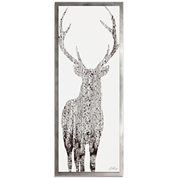 Adam Schwoeppe Birch Deer Framed 19in x 48in Contemporary Animal Silhouette Art on Colored Metal