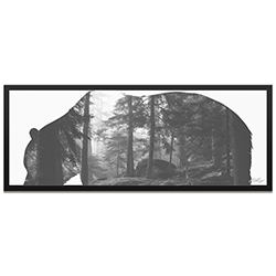 Adam Schwoeppe Grizzly Bear Forest Framed 48in x 19in Contemporary Animal Silhouette Art on Colored Metal