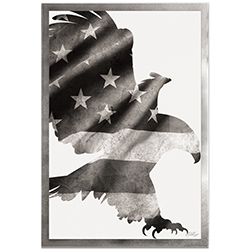 Adam Schwoeppe Patriot Eagle Black & White Framed 22in x 32in Patriotic US Flag Art on Colored Metal