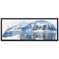 Adam Schwoeppe Polar Bear Arctic Framed 48in x 19in Contemporary Animal Silhouette Art on Colored Metal