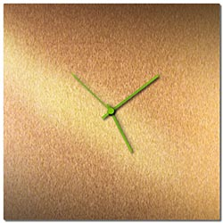 Adam Schwoeppe Bronzesmith Square Clock Large Green Midcentury Modern Style Wall Clock