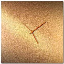 Adam Schwoeppe Bronzesmith Square Clock Large Orange Midcentury Modern Style Wall Clock