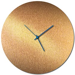 Adam Schwoeppe Bronzesmith Circle Clock Blue Midcentury Modern Style Wall Clock