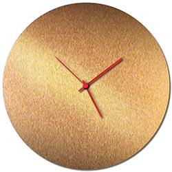 Adam Schwoeppe Bronzesmith Circle Clock Red Midcentury Modern Style Wall Clock