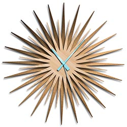 Adam Schwoeppe Atomic Era Clock Bronze Maple Blue Midcentury Modern Style Wall Clock