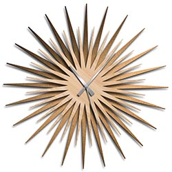 Adam Schwoeppe Atomic Era Clock Bronze Maple Grey Midcentury Modern Style Wall Clock
