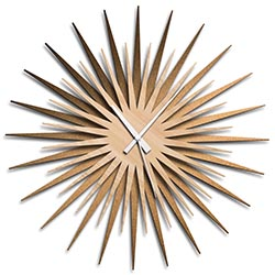 Adam Schwoeppe Atomic Era Clock Bronze Maple White Midcentury Modern Style Wall Clock