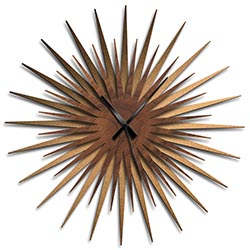 Adam Schwoeppe Atomic Era Clock Bronze Walnut Black Midcentury Modern Style Wall Clock