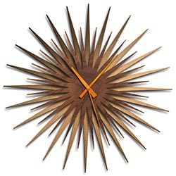 Adam Schwoeppe Atomic Era Clock Bronze Walnut Orange Midcentury Modern Style Wall Clock