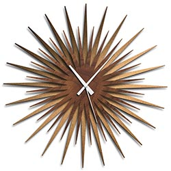 Adam Schwoeppe Atomic Era Clock Bronze Walnut White Midcentury Modern Style Wall Clock
