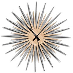 Adam Schwoeppe Atomic Era Clock Silver Maple Black Midcentury Modern Style Wall Clock