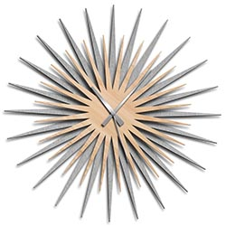 Adam Schwoeppe Atomic Era Clock Silver Maple Grey Midcentury Modern Style Wall Clock