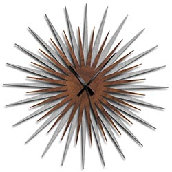 Adam Schwoeppe Atomic Era Clock Silver Walnut Black Midcentury Modern Style Wall Clock