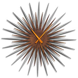 Adam Schwoeppe Atomic Era Clock Silver Walnut Orange Midcentury Modern Style Wall Clock