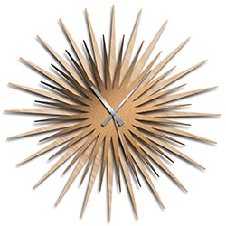 Adam Schwoeppe Atomic Era Clock Maple Bronze Grey Midcentury Modern Style Wall Clock