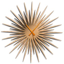 Adam Schwoeppe Atomic Era Clock Maple Bronze Orange Midcentury Modern Style Wall Clock