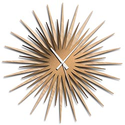 Adam Schwoeppe Atomic Era Clock Maple Bronze White Midcentury Modern Style Wall Clock