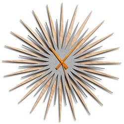 Adam Schwoeppe Atomic Era Clock Maple Silver Orange Midcentury Modern Style Wall Clock