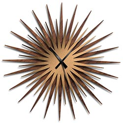 Adam Schwoeppe Atomic Era Clock Walnut Bronze Black Midcentury Modern Style Wall Clock