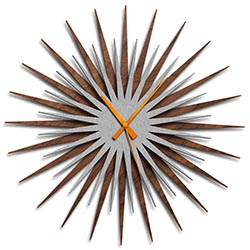Adam Schwoeppe Atomic Era Clock Walnut Silver Orange Midcentury Modern Style Wall Clock