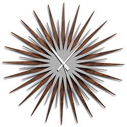 Adam Schwoeppe Atomic Era Clock Walnut Silver White Midcentury Modern Style Wall Clock