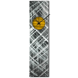 Helena Martin Plaid Relief Clock Gold 6in x 24in Modern Wall Clock on Ground and Painted Metal