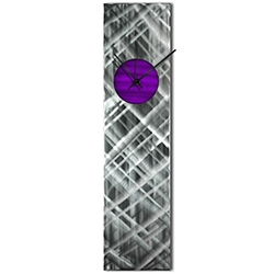 Helena Martin Plaid Relief Clock Purple 6in x 24in Modern Wall Clock on Ground and Painted Metal