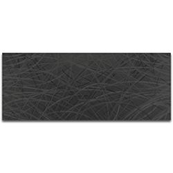 Helena Martin Black Thatched 48in x 19in Original Abstract Metal Art on Ground and Painted Metal