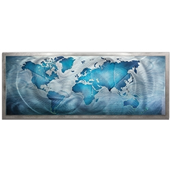 Amber LaRosa Land and Sea Framed 48in x 19in Traditional World Map Art on Colored Metal