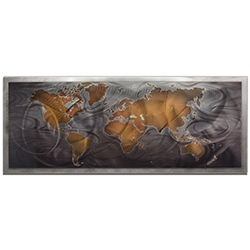 Amber LaRosa Bronze Pewter Land and Sea Framed 48in x 19in Traditional World Map Art on Colored Metal