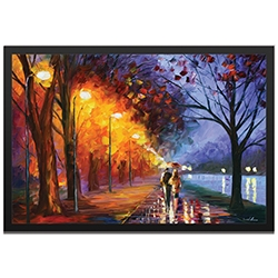 Leonid Afremov Alley By The Lake Framed 32in x 22in Abstract Cityscape Art on Colored Metal