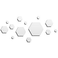NAY Honeycomb White 70in x 32in Hexagons Abstract Art on Aluminum Composite