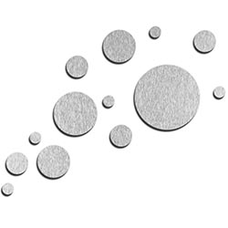 NAY Floating Silver 66in x 50in Circles Abstract Art on Aluminum Composite