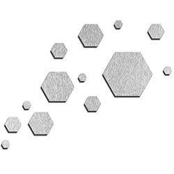 NAY Carbon Silver 66in x 50in Hexagons Abstract Art on Aluminum Composite